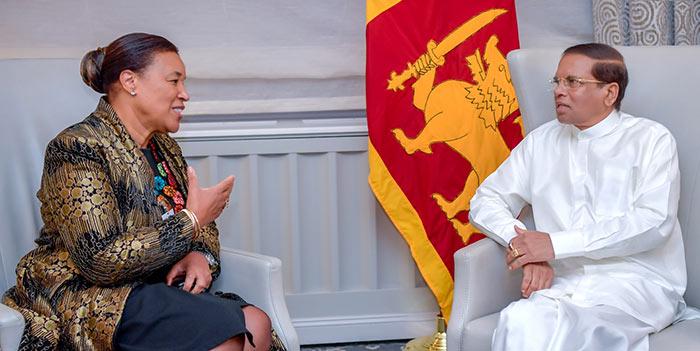 Patricia Scotland with Sri Lanka President Maithripala Sirisena