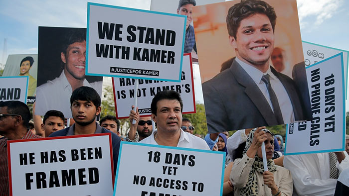 Protest against arrest of Mohamed Kamer Nilar Nizamdeen in Colombo Sri Lanka