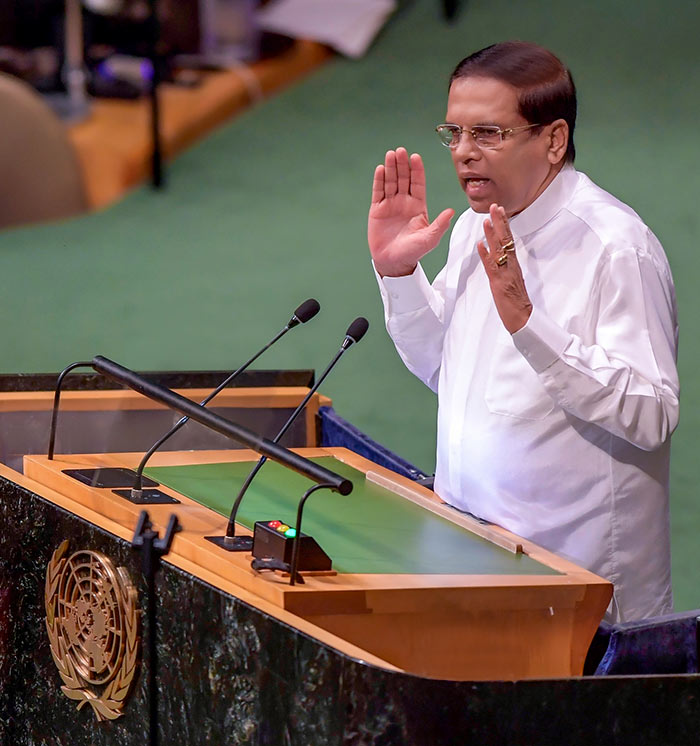 Sri Lanka President Maithripala Sirisena addressing the Nelson Mandela peace summit