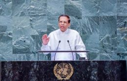 Sri Lanka President Maithripala Sirisena is addressing United Nations General Assembly