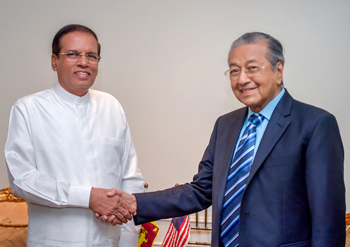 Sri Lanka President Maithripala Sirisena with Malaysian Prime Minister Dr. Mahathir Mohamad