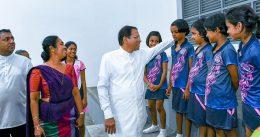 President Maithripala Sirisena in Sirimavo Bandaranaike vidyalaya in Colombo Sri Lanka
