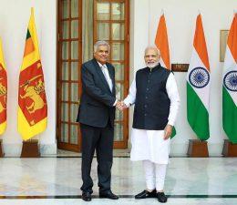 Sri Lanka Prime Minister Ranil Wickremesinghe with India Prime Minister Narendra Modi