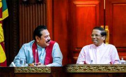 Mahinda Rajapaksa with Sri Lanka President Maithripala Sirisena