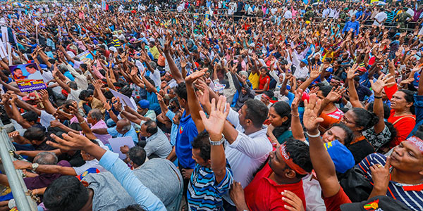 Crowd of a political rally in Sri Lanka
