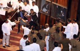 Johnston Fernando throws a chair in Parliament of Sri Lanka