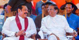 Sri Lanka Prime Minister Mahinda Rajapaksa with Sri Lanka President Maithripala Sirisena