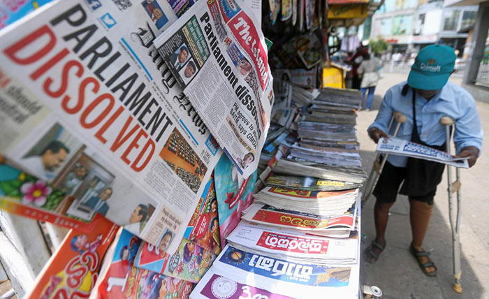 Newspapers in Sri Lanka on political issues
