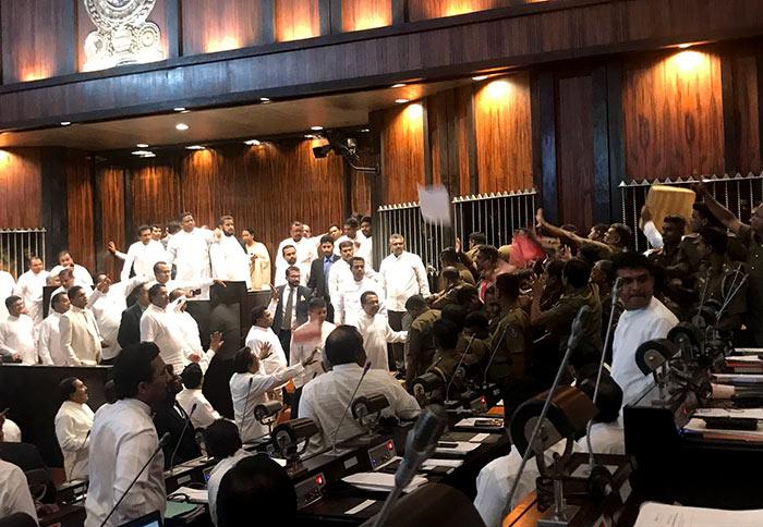 Police enter Sri Lanka parliament chamber