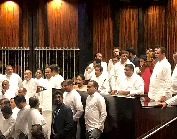 Sri Lankan Government MPs protest in Parliament