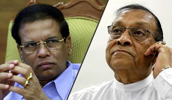 Sri Lanka President Maithripala Sirisena and Sri Lanka Parliament Speaker Karu Jayasuriya