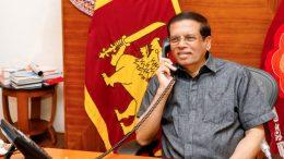 Sri Lanka President Maithripala Sirisena in a telephone conversation