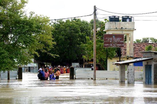 Flood in Jaffna Sri Lanka