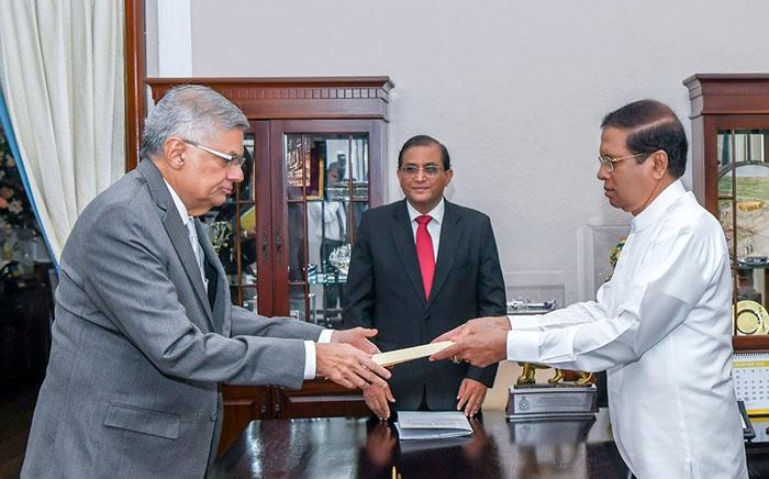 Sri Lanka Prime Minister Ranil Wickremesinghe with Sri Lanka President Maithripala Sirisena