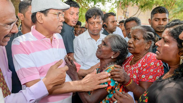 Sri Lanka President Maithripala Sirisena vested the reconstructed Iranamadu reservoir