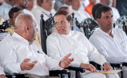 Mangala Samaraweera with Maithripala Sirisena and Rajith Keerthi Tennakoon