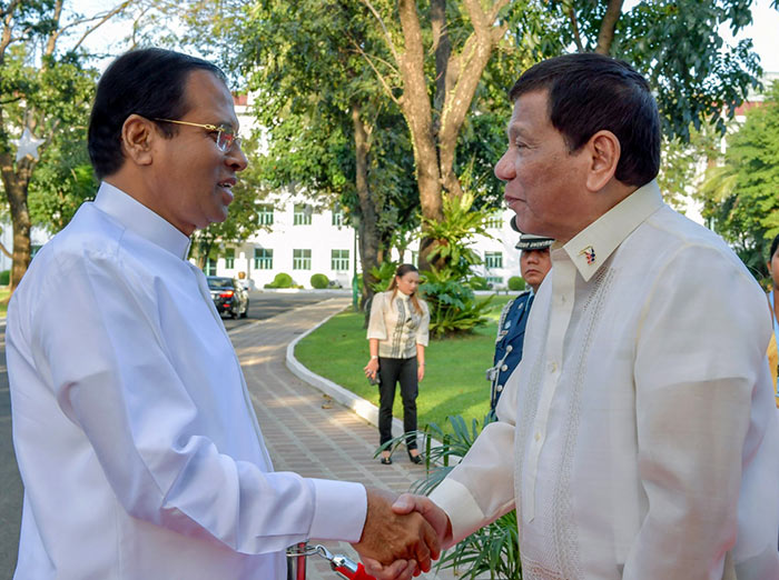 President of Sri Lanka Maithripala Sirisena met President of the Philippines Rodrigo Duterte