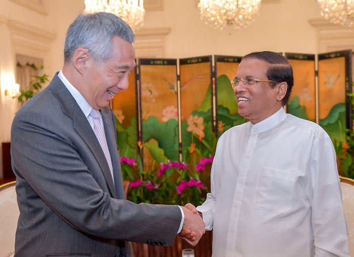 President of Sri Lanka Maithripala Sirisena with Prime Minister of Singapore Lee Hsien Loong