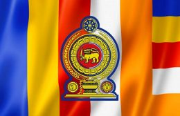 Sri Lanka Government logo on Buddhist flag