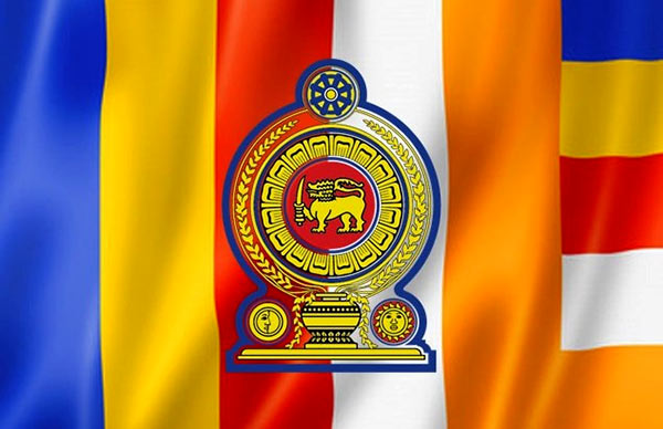 Sri Lanka Government logo on Buddhist flag