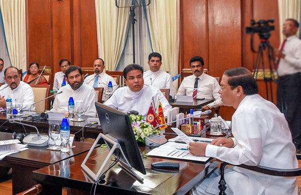 Sri Lanka President Maithripala Sirisena in a meeting on fall army worm Sena caterpillar