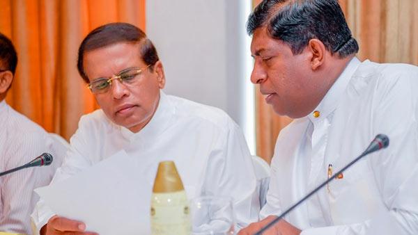 Sri Lanka President Maithripala Sirisena with Minister Ravi Karunanayake