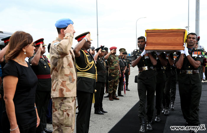 Coffins of late UN Peacekeepers brought amidst military honours at Bandaranaike International Airport in Sri Lanka