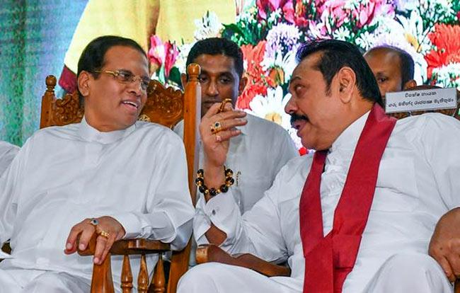 Sri Lanka President Maithripala Sirisena with Mahinda Rajapaksa