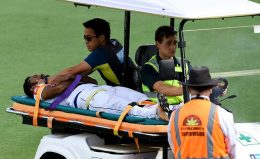 Sri Lanka Cricketer Dimuth Karunaratne was hit by bouncer of the australian bowler Pat Cummins