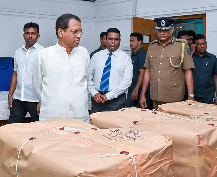 Sri Lanka President inspects Sri Lanka's largest ever heroin haul busted