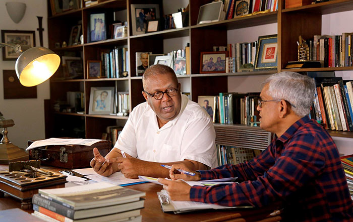 Finalizing the budget 2019 by Mangala Samaraweera with R.H.S. Samaratunga