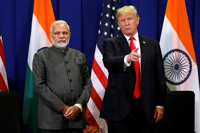 India Prime Minister Narendra Modi with U.S. President Donald Trump
