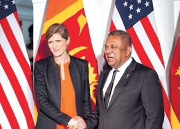 Samantha Power with Mangala Samaraweera