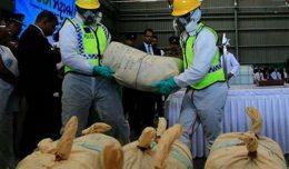 Illegal drug destroy in Sri Lanka