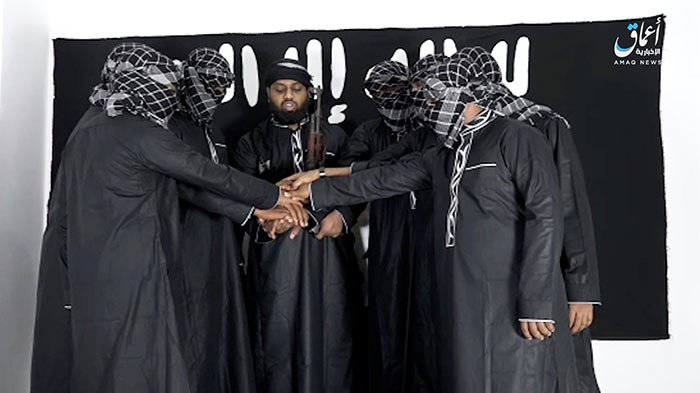 ISIS released this image of Sri Lanka bombing attackers and their leader Zahran Hashim