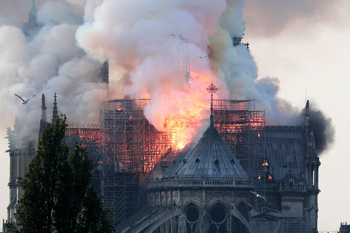 Paris Notre Dame Cathedral is on fire