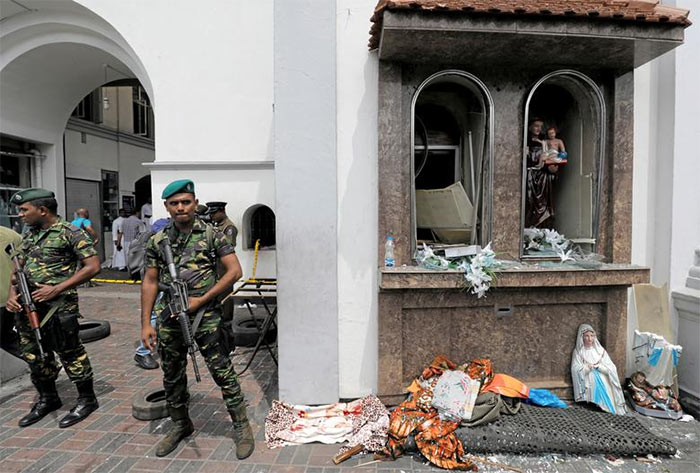 Police special task force - STF in a bomb explosion site in Sri Lanka