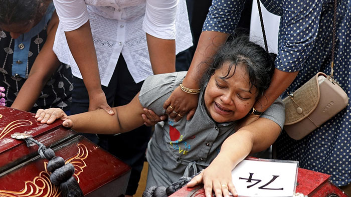 Relative of the bomb blast victims in Sri Lanka