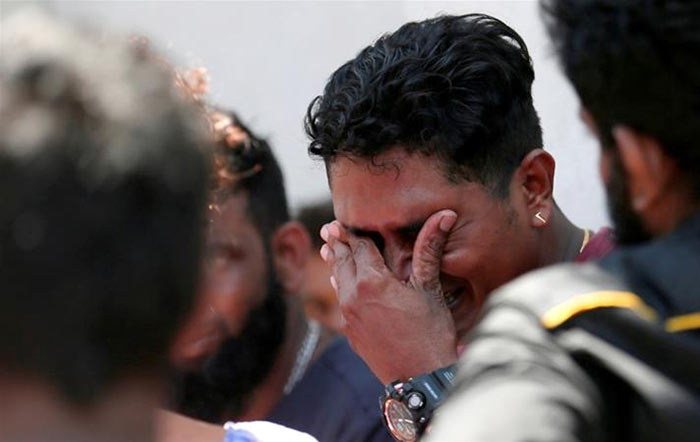 A relative of a victim of the bomb explosion in Sri Lanka