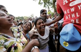 Relatives of the blast victims in Sri Lanka