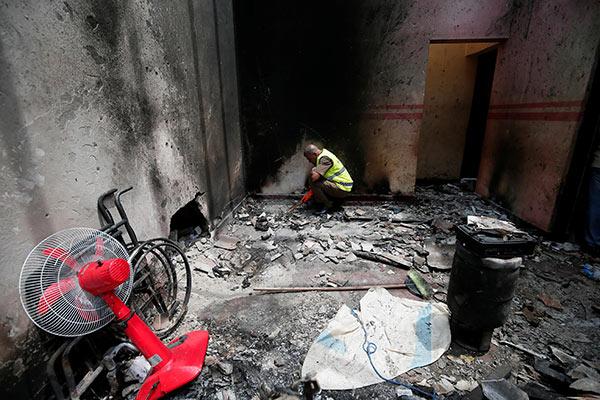A site of a gun battle between troops and islamist militants in Kalmunai Sri Lanka