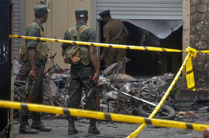 Sri Lanka army in a bomb explosion site in Sri Lanka