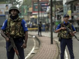 Sri Lanka Navy guards on roads after bombing