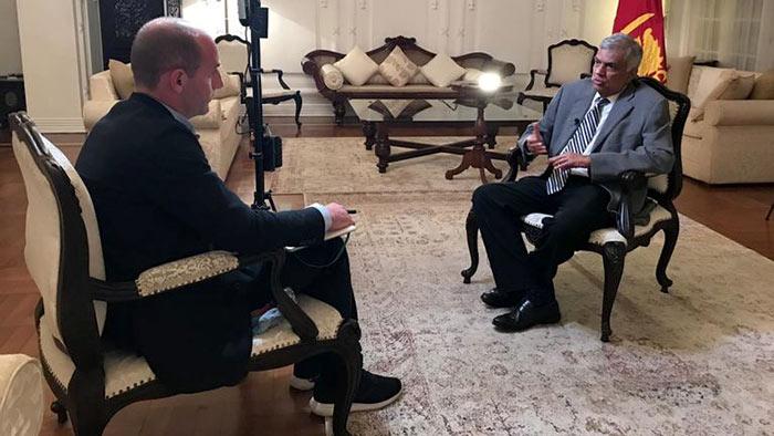 Sri Lanka's PM Ranil Wickremesinghe speaks to Sky News Tom Cheshire