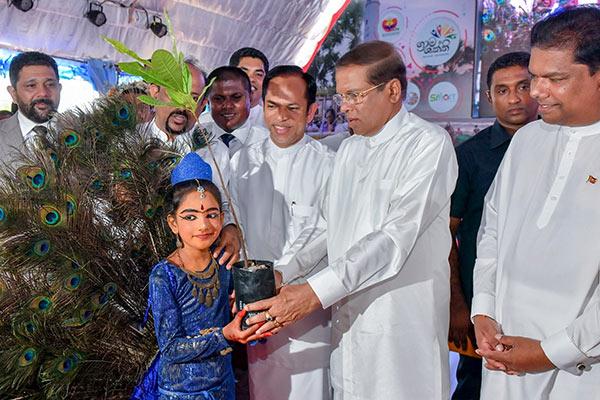 Sri Lanka President Maithripala Sirisena is planting a sapling