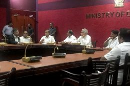 Sri Lanka Prime Minister with Ministers in a special security meeting