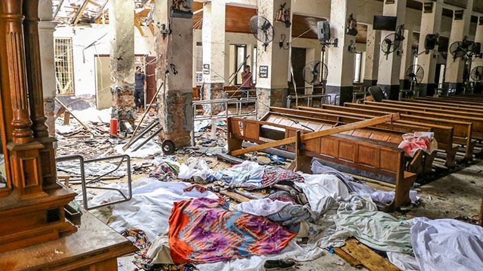 St Anthony's Shrine after an explosion hit the site in Kochchikade Colombo Sri Lanka