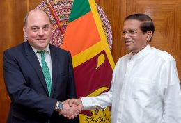 The British Minister Ben Wallace with Sri Lanka President Maithripala Sirisena