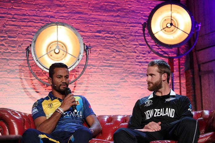 Sri Lanka Cricket captain Dimuth Karunaratne with New Zealand Cricket captain Kane Williamson