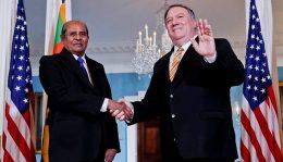 Sri Lanka Foreign Affairs Minister Tilak Marapana and U.S. Secretary of State Mike Pompeo